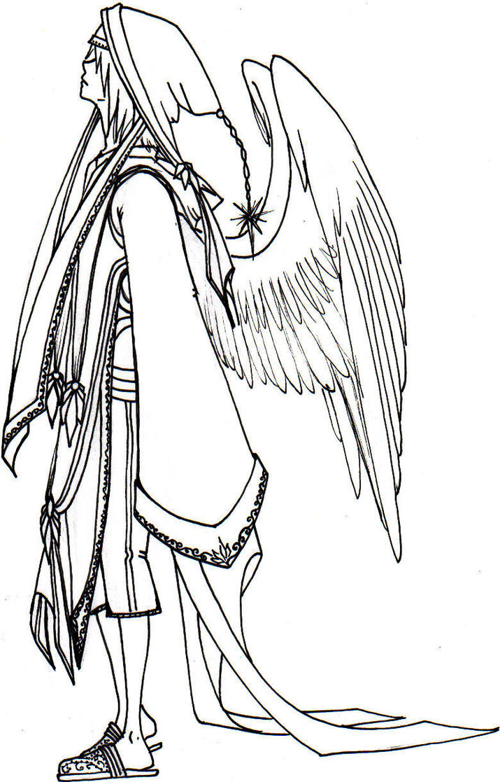 Line Art Angel : Angel line art by trillium on deviantart
