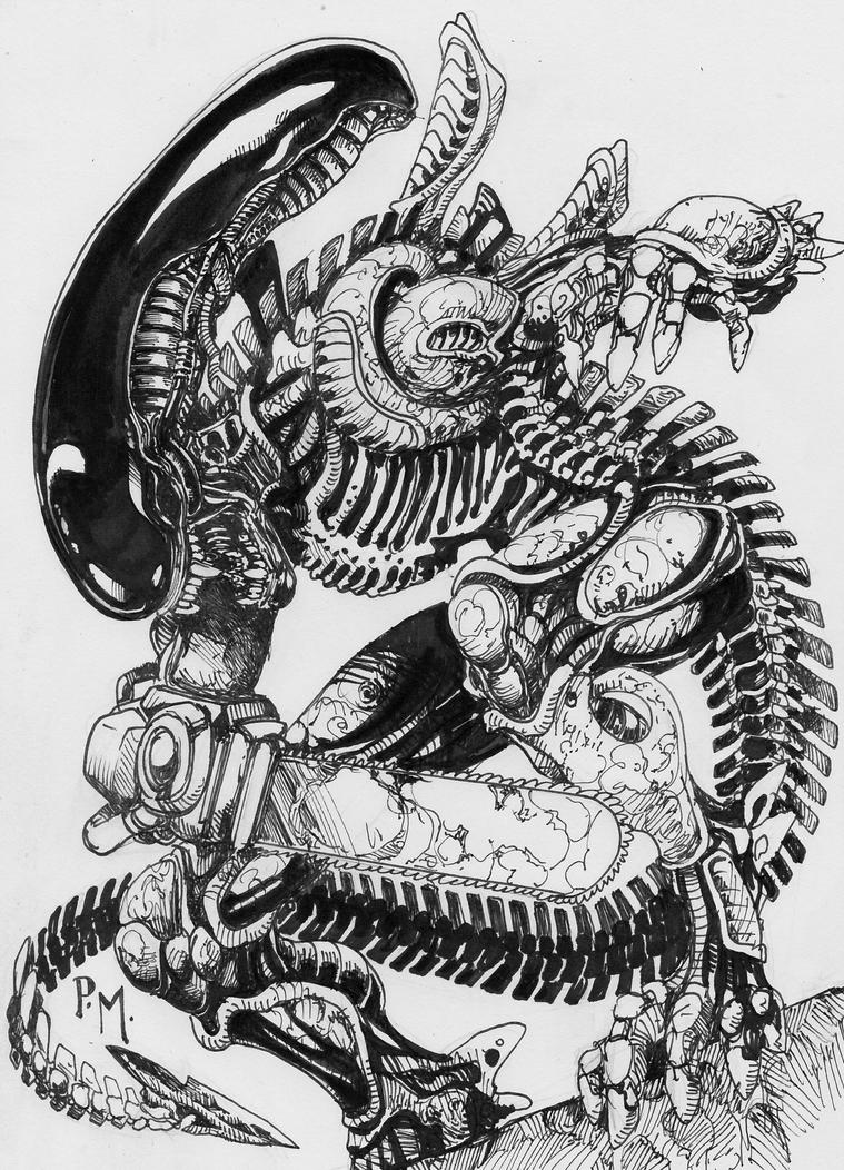 Inktober Oct 14th Alien chainsaw -XT3 by PM-Graphix