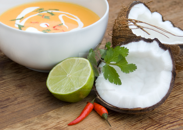 Thai Coconut Lime and Chili Soup by iconsPhotography