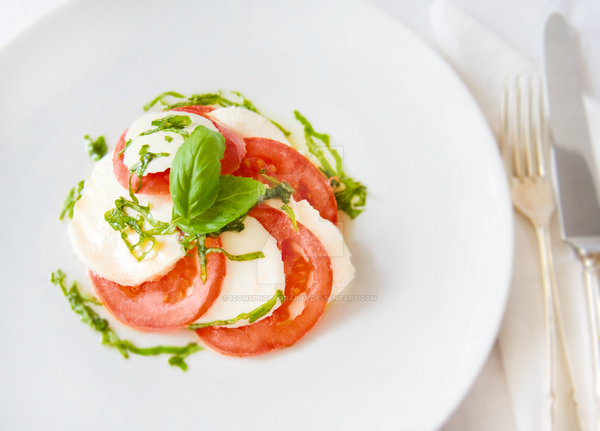 Tomato, Mozzarella and Basil Salad by iconsPhotography