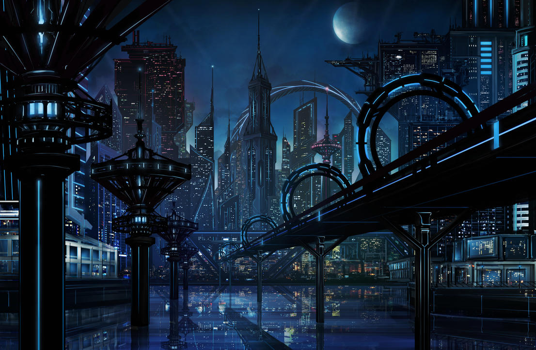 sci-fi city by higu0217