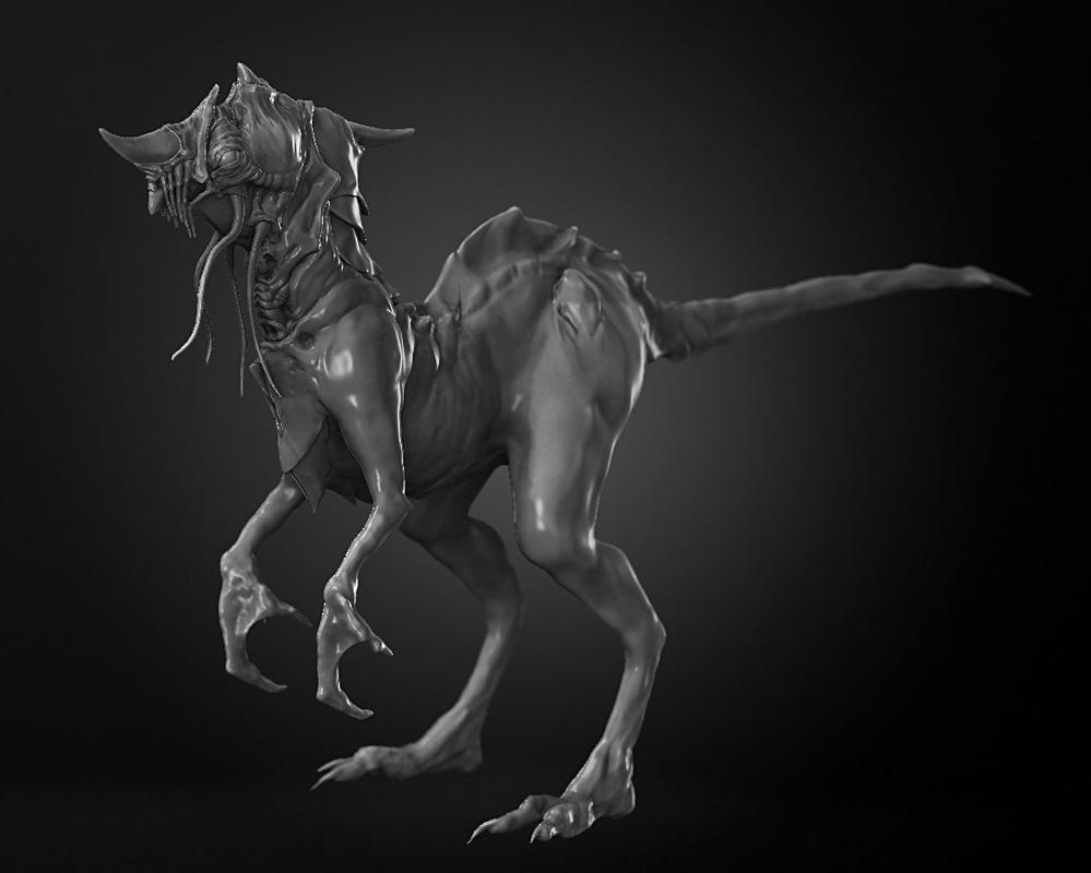 Horned Marine Raptor - work in progress by zerojs