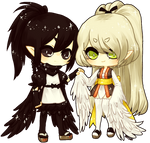 OCs -- crow and owl by onisuu