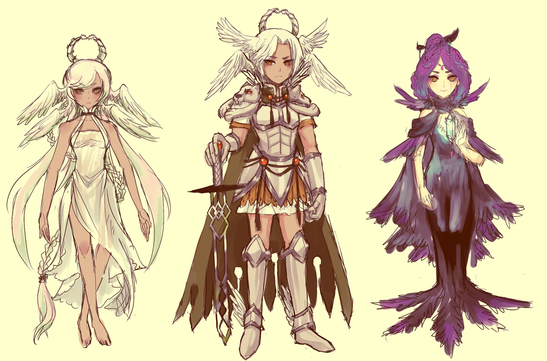 OCs -- design progress :D by onisuu
