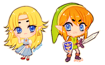 A Link to the Past -- Zelda and Link by onisuu