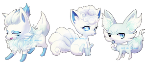 pokemon -- three snowy foxes