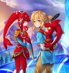 commission -- Mipha, Link and Baby Sidon