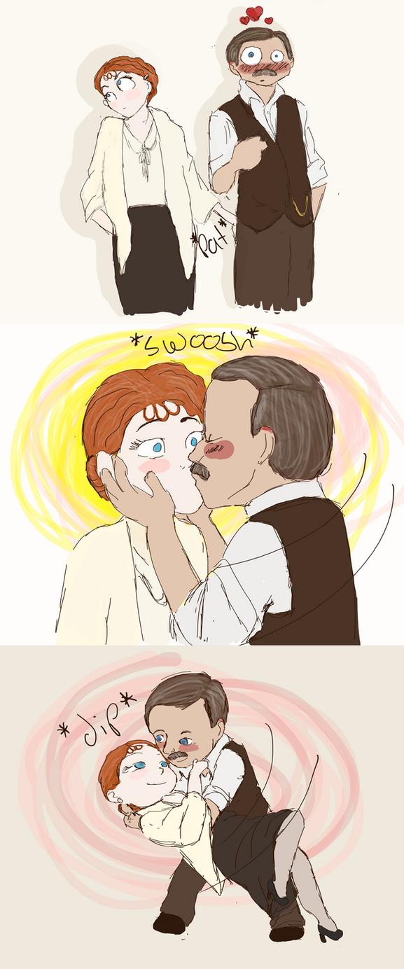 Japp/Miss Lemon cartoon by GoodOldBaz