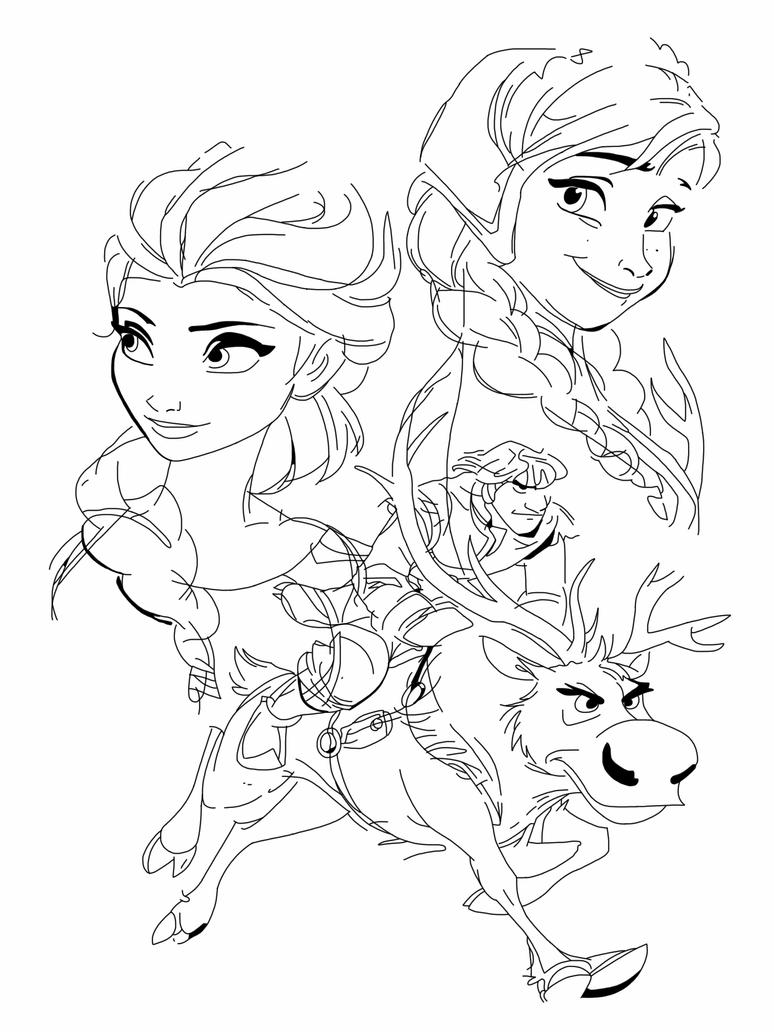 Anna elsa kristoff and sven by spartandragon12 on deviantart for Frozen sven coloring pages