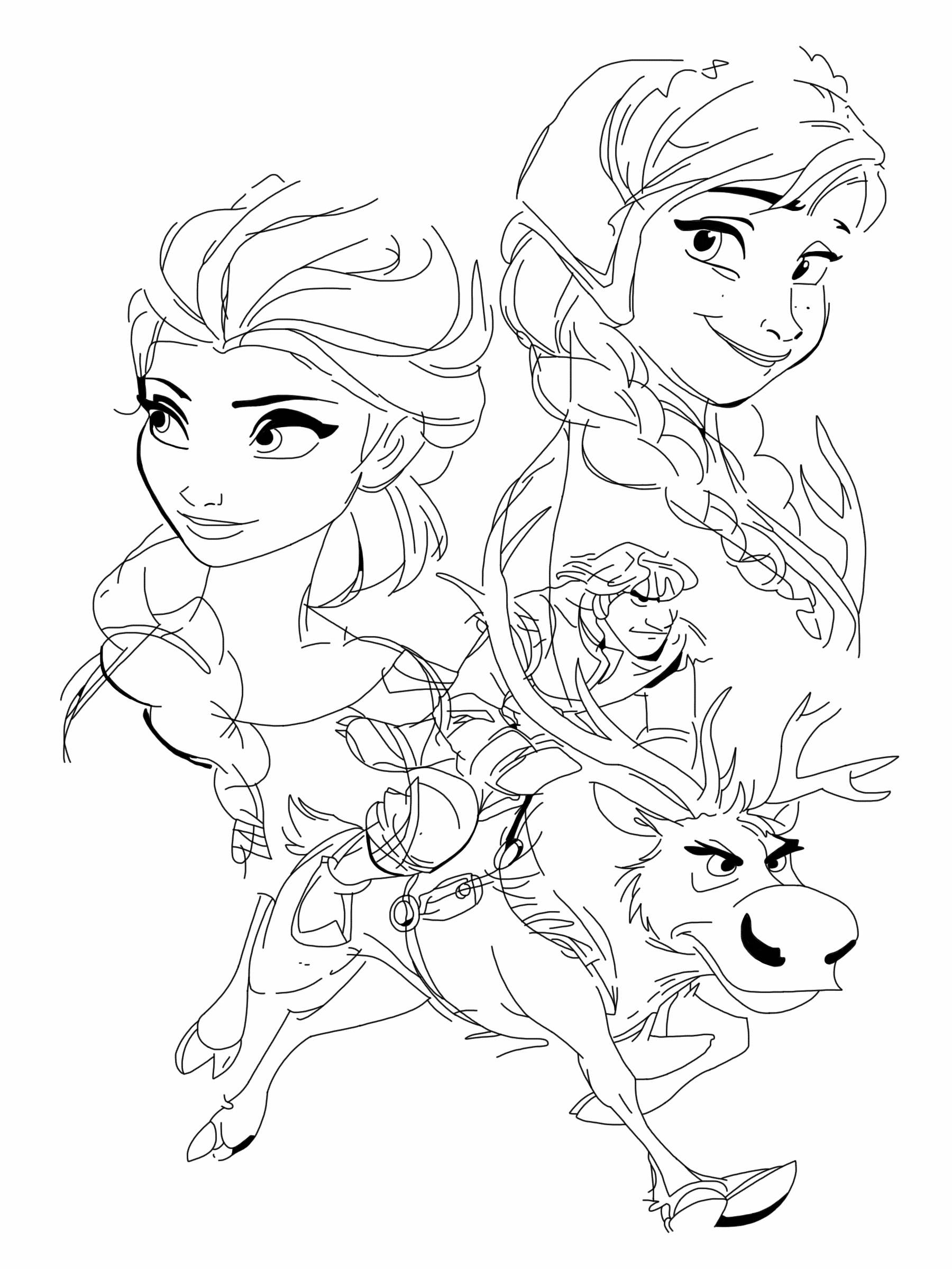 Baby Reindeer From Frozen Coloring Pages Anna Elsa Kristoff And Sven By Spartandragon12 On DeviantArt
