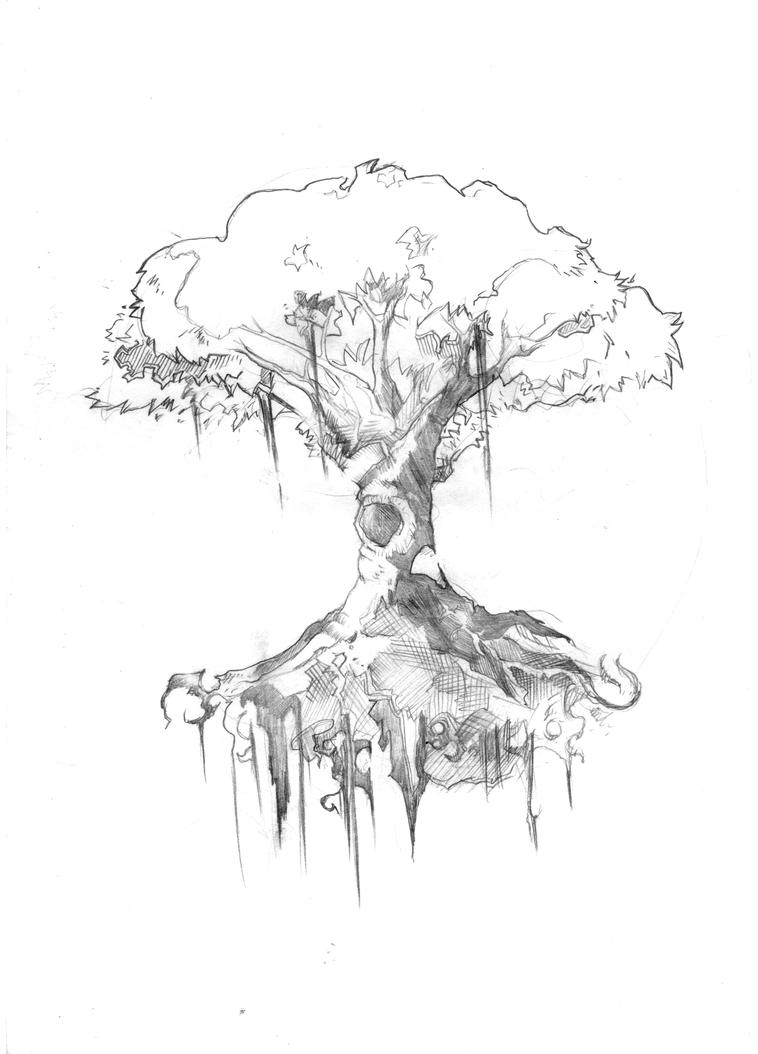 how to draw a old tree