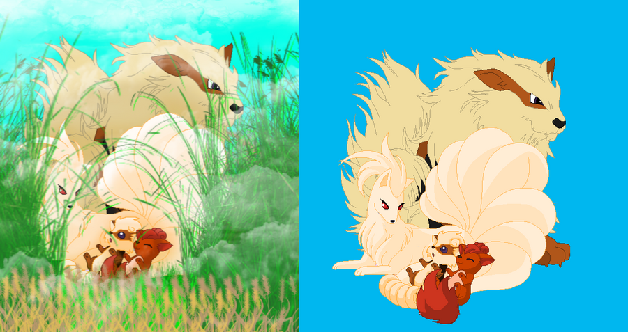 NinetailsXArcanine and babies by Kitrei-Sirto