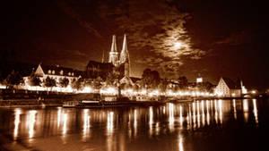 Moon over Regensburg by StefanEffenhauser