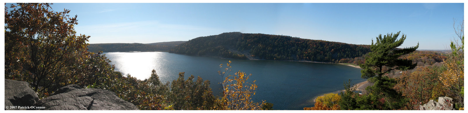 Devils Lake Fall Panoramic by cheeseheads