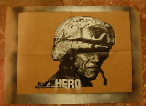 Hero Pixelart stencil. by Amek92
