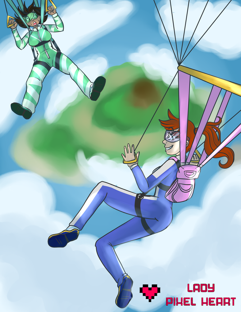 Maya and Sadie Skydiving Commission by ladypixelheart