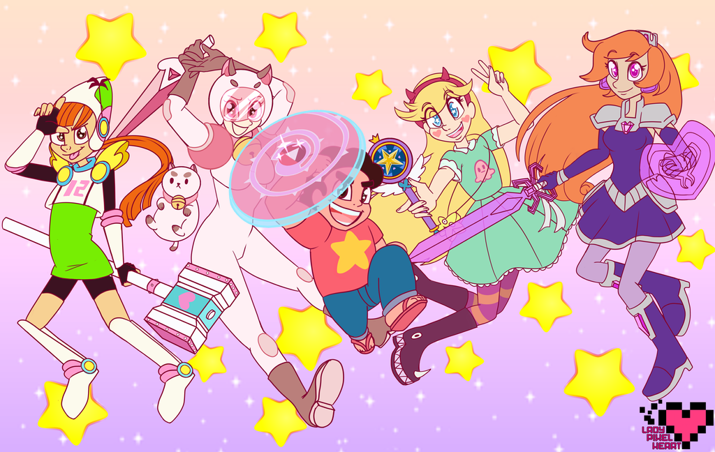 American Magical Girls And Steven By Ladypixelheart On