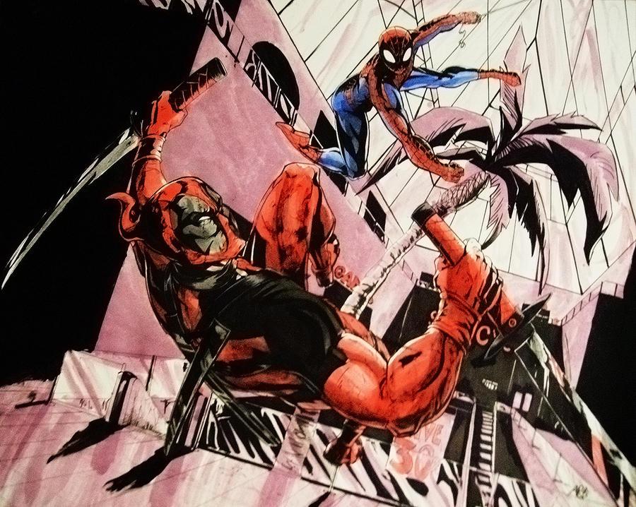 Deadpool vs Spider-man by pikapikaichigo