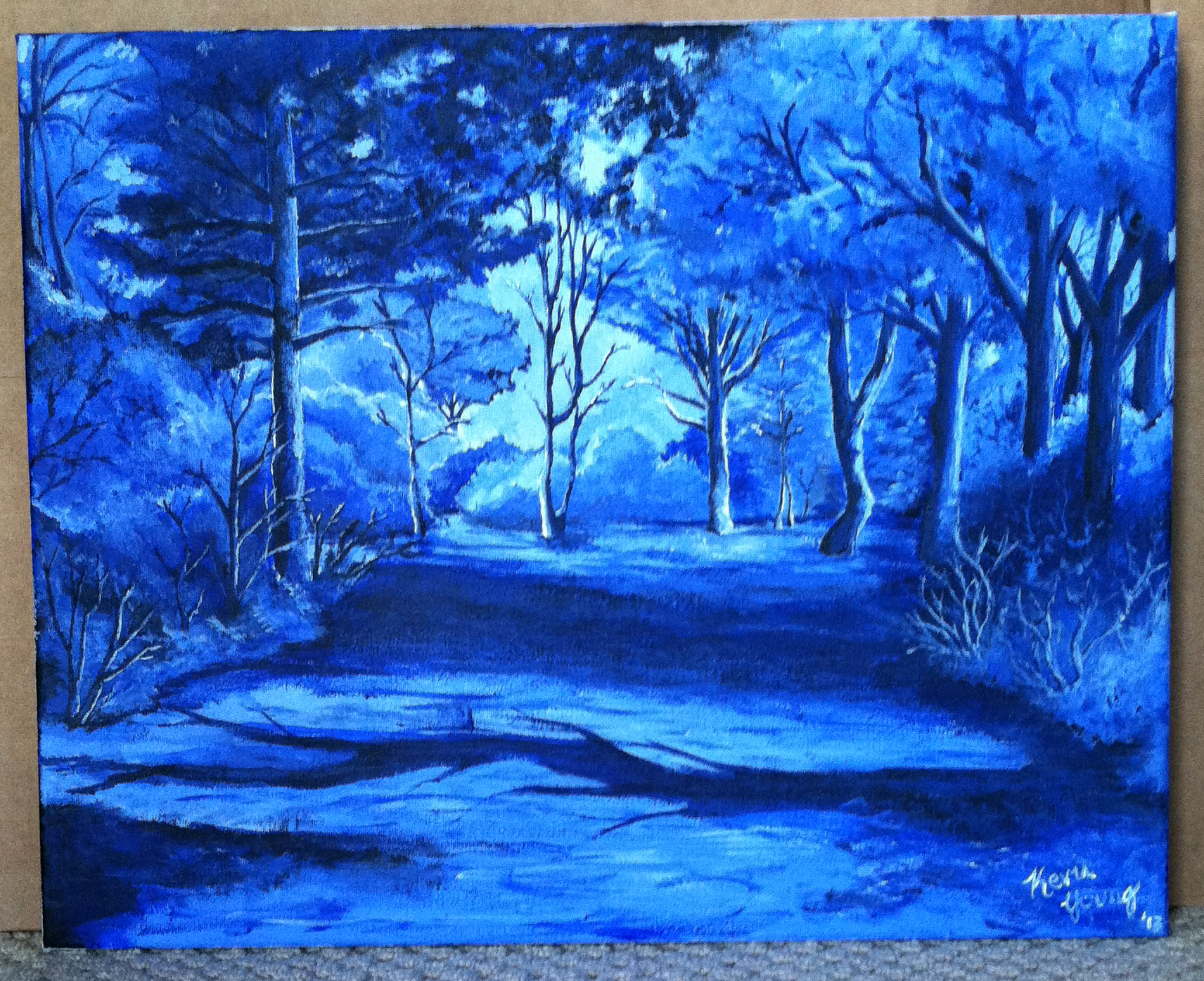 Blue monochrome landscape by kyoung720 on deviantart for Blue paintings on canvas