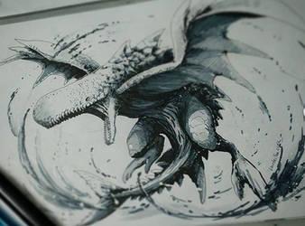 Whale dragon inking marker art