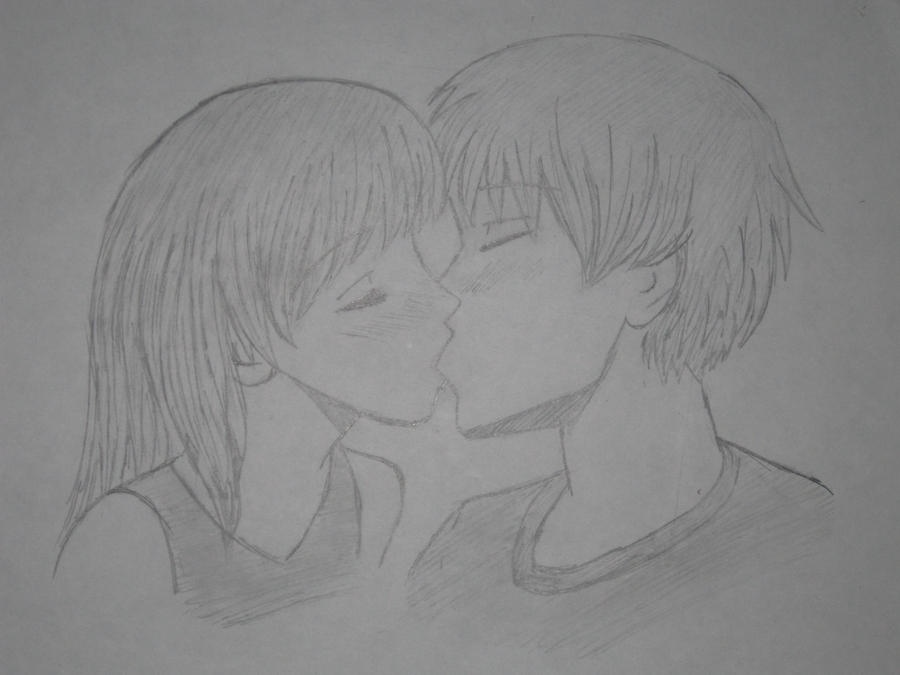 Anime couple kissing by emmiruby0223