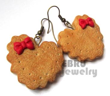 Heart Shaped Cookie earrings by Lovely-Ebru