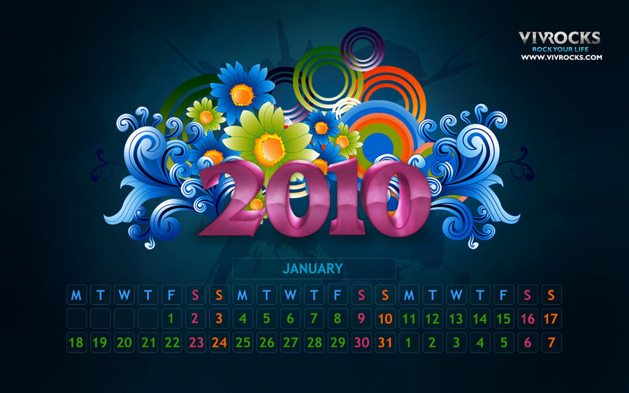 Jan 2010 Calendar Wallpaper by vivrocks