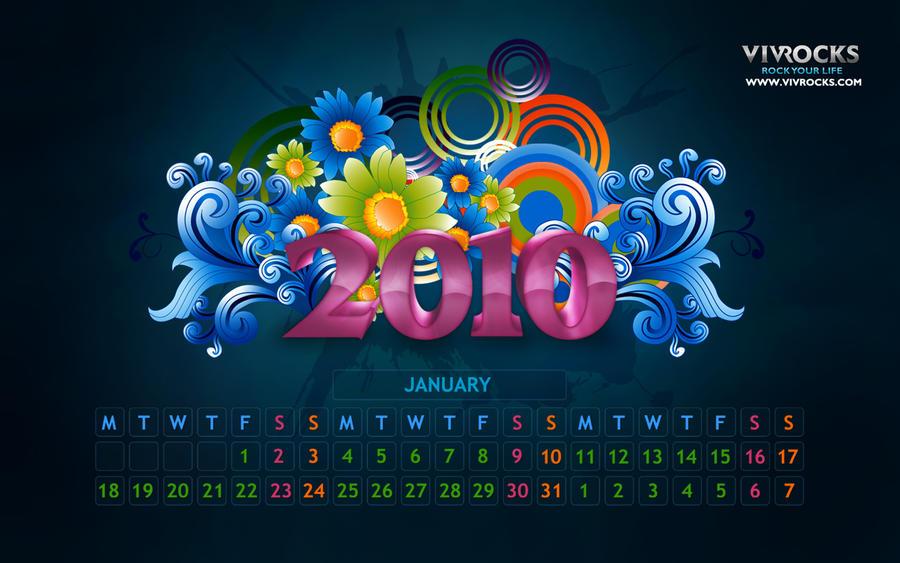 Jan 2010 Calendar Wallpaper