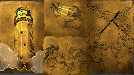 Extracts of drawing from the story by Pinterac