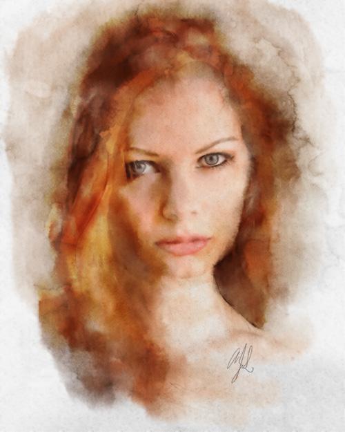 portrait 1 by liam stock as digital watercolor by AdamJasonPhoto