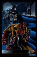 batman and hellboy by toddrayner