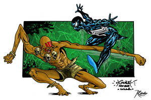 Dhalsim vs Spider-Man colored by RCarter