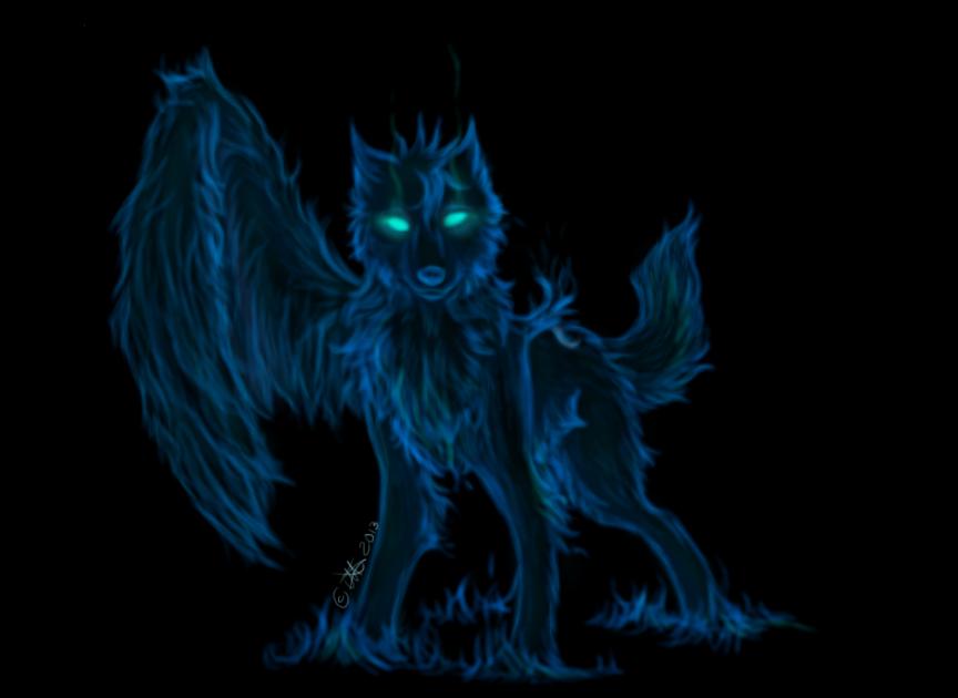 blue fire wolf by disunite on deviantart