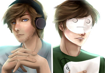 Semi-Realistic Pewdiepie and Cry by VIV-I