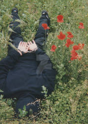 Hand(cuffed)some boy in poppies field. by SneakerBoyBondage