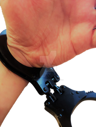 Boys hand in hinged cuffs. by SneakerBoyBondage