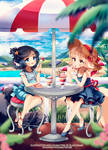 Cafe on the beach by blanchiame
