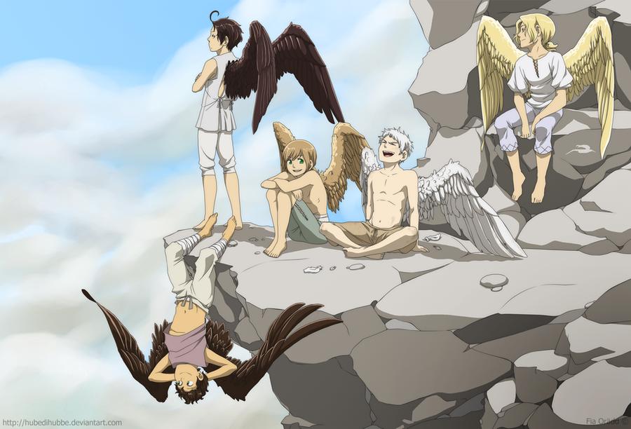 Winged kids by Hubedihubbe