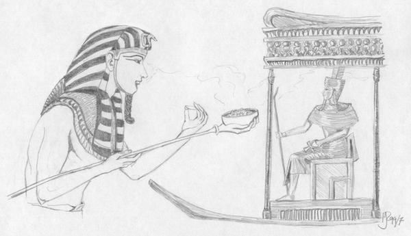 Pharaoh and AmunRa by Elrallinde