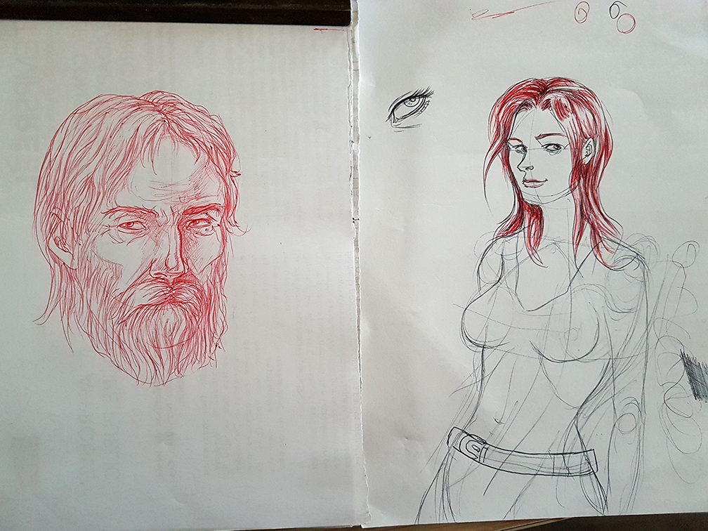 Croquis 474 Old man and young girl