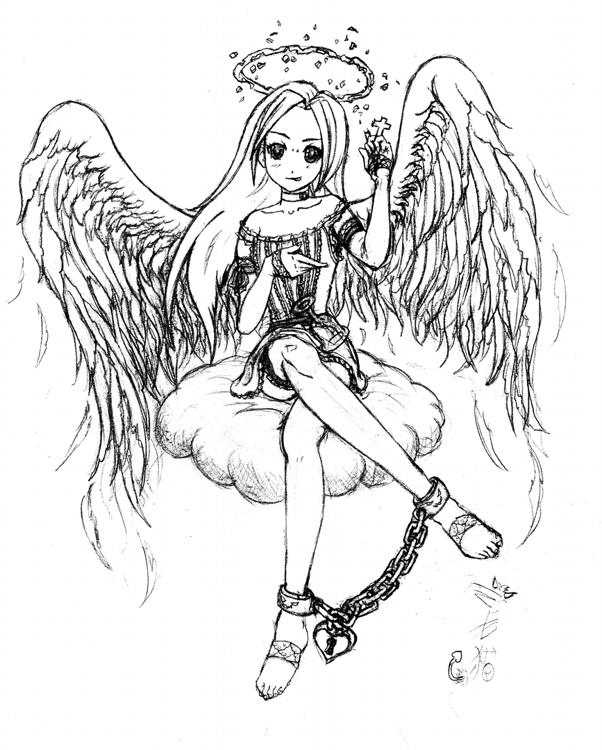 Fallen angel by barfhappy on deviantart for Anime angel coloring pages