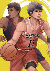 Aomine and Rukawa by maorenc