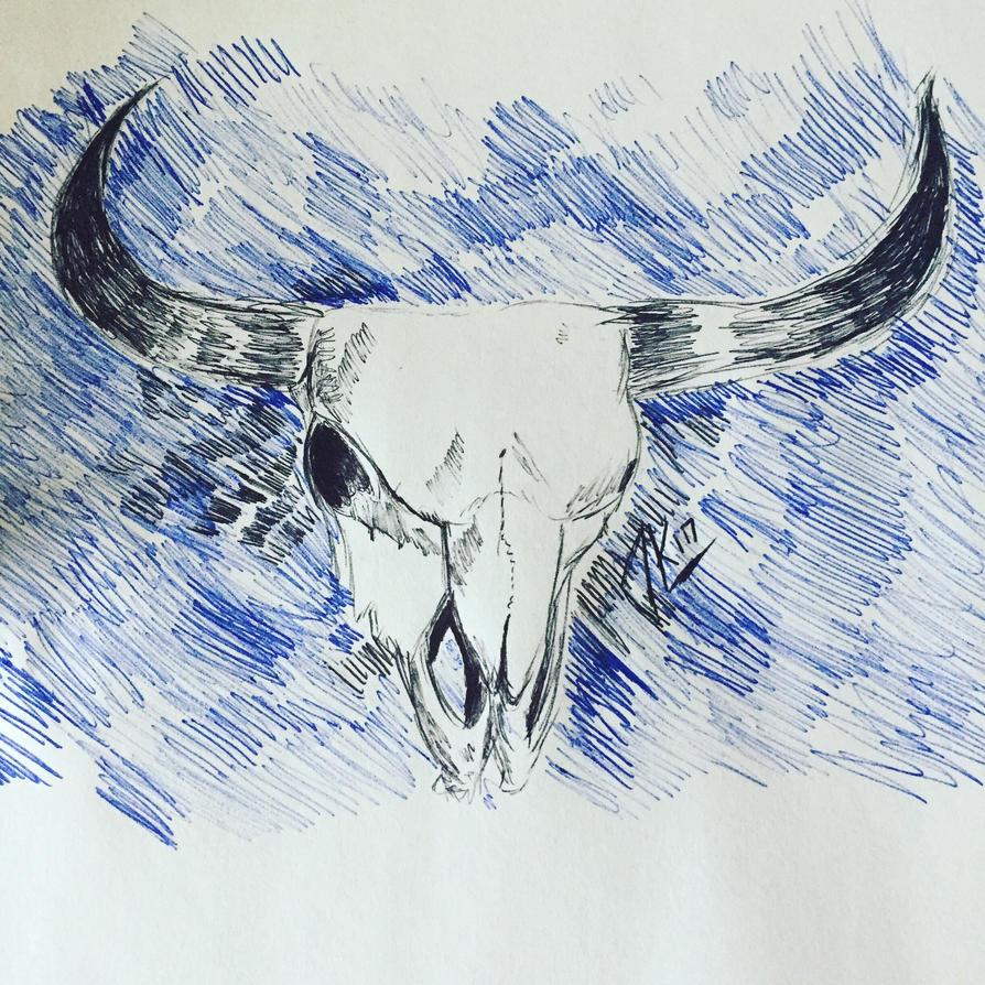 Cow skull art doodle by jenisnotcool