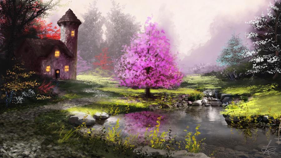 Sunlit Pond by jjpeabody