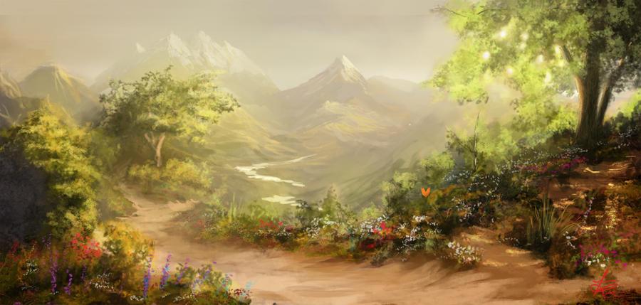 Majestic Fantasy Landscape by jjpeabody