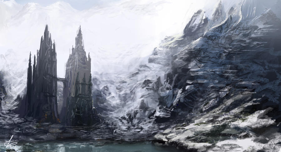 Fantasy Mountain Fortress Glacial fortress by jjpeabody