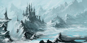 Mountain Fortress with Glacial Lake