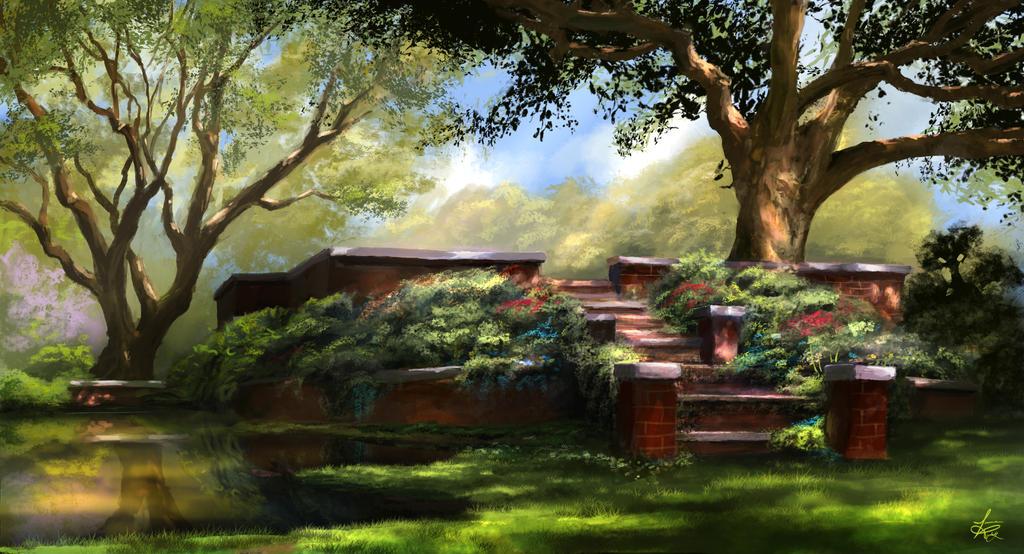 Garden Stairs by jjpeabody