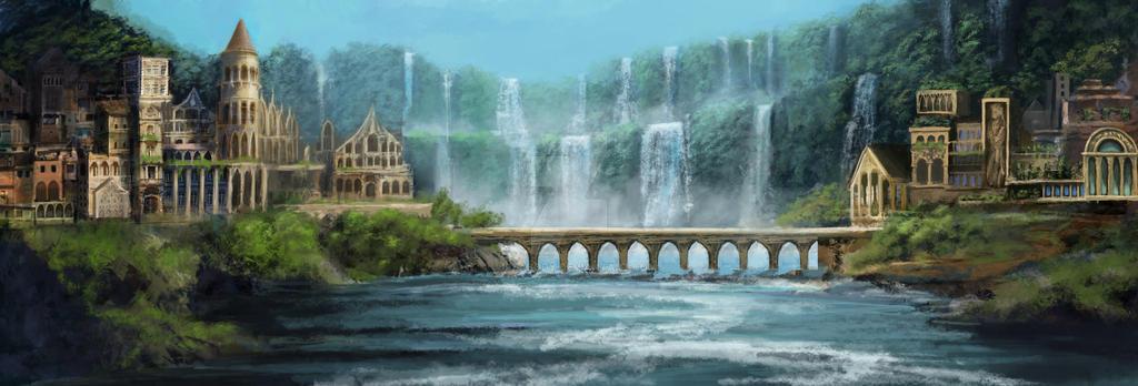 Elvish City (Commission) by jjpeabody