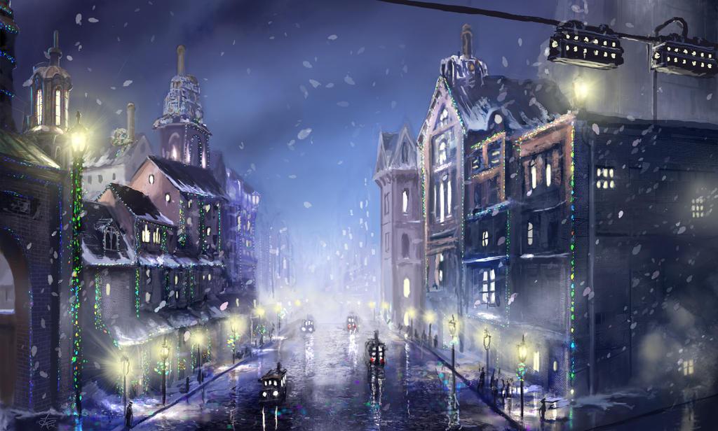 Steampunk City Christmas by jjpeabody
